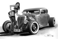 Famous Hot Rod Artists | bad girl 34 hotrod drawing by portraitz d5b7mfn Hot Rod Cars Drawings