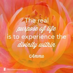 """The real purpose of life is to experience the divinity within."" - Amma"