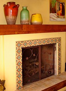 Decorative accents & mantel  trimmed with ##Mexican talavera tiles.