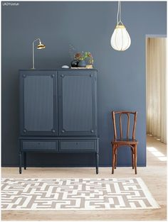 Home Decoration Inspiration Product Blue Gray Paint Colors, Grey Wall Color, Wall Colors, Grey Paint, Simple Interior, Gray Interior, Modern Interior, Interior Design, Blue Gray Bedroom