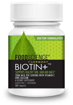 FoodScience of Vermont Biotin , Hair-Skin-Nail Dietary Supplement, 60 Tablets -- Click image to review more details. (This is an Amazon Affiliate link and I receive a commission for the sales)