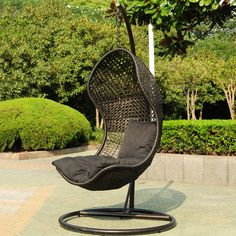Black hanging chair for outdoors
