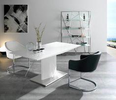 Mesa pata central extensible lacada Colores disponibles blanco o negro. Medidas: 160 x 90 x 75 cm MESA EXTENSIBLE. Abierto 220x90x75 cm