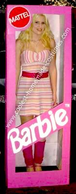 Homemade Lifesize Barbie in a Box Costume: Well, as a child my favorite thing to play with was my Barbie doll collection.  Now all grown up, this Lifesize Barbie in a Box costume was a fun and nostalgic