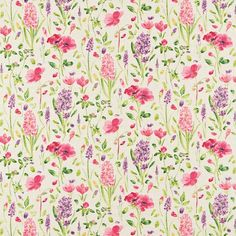 Sanderson - 'Spring Flowers' has been painted in a loose watercolour style with subtle tonal effects that have been printed on a linen mix fabric and is complemented by 'Spring Trellis' wallpaper, painted in a similar technique. Trellis Wallpaper, Fabric Wallpaper, Pattern Wallpaper, Decoupage, Sanderson Fabric, Matching Wallpaper, Fabric Yarn, Textiles, Pretty Patterns