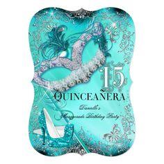 Teal Silver Masquerade Quinceanera Birthday Invite