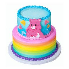 New Birthday Cake Girls Care Bears Ideas Care Bear Birthday, Care Bear Party, New Birthday Cake, Baby Birthday, Birthday Ideas, Bear Cupcakes, Cupcake Cakes, Care Bear Cakes, Sugar Decorations For Cakes