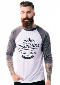 the perfect shirt for the mountain man. even better: it helps provide service dogs for kids with disabilities! shop here: http://www.sevenly.org/charity-products/mountains-are-calling-baseball-raglan?cid=InflPinterest0005SaraHarvey