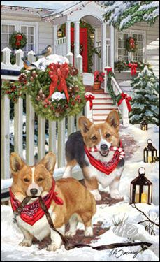 "Corgi Christmas cards are 8 1/2"" x 5 1/2"" and come in packages of 12 cards. One design per package. All designs include envelopes, your personal message, and choice of greeting. Select your greeting from the drop-down menu above.Add your personal message to the Comments box during checkout."