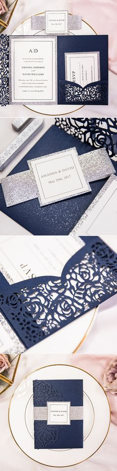 sparkly silver and navy elegant laser cut wedding invitations#weddinginvitations#ElegantWeddingInvites