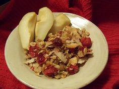 """Cranberry/Vanilla Granola (scroll down on page a bit to get to recipe) from """"Divine Recipes - The Yoga of Food"""""""