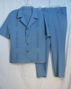 Vintage 1970s Mens Leisure Suit Blue pants and by GrammyKayFinds