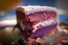 Strawberry cake, strawberry icing and strawberry cream cheese filling - Yum.  Happy birthday @Katie Schmeltzer Wassmer