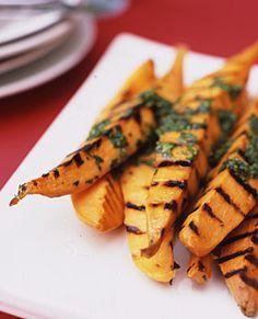 Grilled Sweet Potatoes with Lime Cilantro Vinaigrette Recipe | Epicurious.com