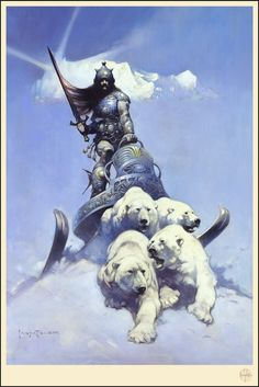 Frank Frazetta: Officialy Licensed Screen Prints Available HERE (Spoke Art)  Frank Frazetta (born Frank Frazzetta; February 9 1928  May 10 2010) was an American fantasy and science fiction artist noted for comic books paperback book covers paintings posters LP record album covers and other media. He was the subject of a 2003 documentary.  Frazetta was inducted into the comic book industrys Will Eisner Comic Book Hall of Fame in 1995 and the Jack Kirby Hall of Fame in 1999.