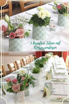 Upcycling Ideen mit Konservendosen, schöne Ideen für eine kreative Tischdekoration, DIY, Frühling, Tischdeko Ideen #Konservendosen #Upcycling Diy Upcycling, Crafty, Table Decorations, Recycling, Wedding, Inspiration, Furniture, Home Decor, Creative Ideas