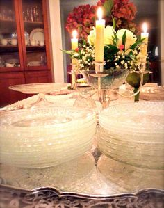 Vintage glass plates look beautiful on the table! - Southern Vintage Table