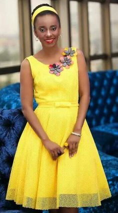 African style yellow dress