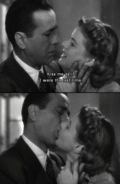 film, casablanca 1942, cine, de película, movi, humphrey bogart, beso de, ingrid bergman, kisses