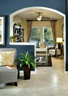 Traditional Living Room Design, Pictures, Remodel, Decor and Ideas - page 9 Living Room Designs, Living Room Decor, Living Spaces, Open Kitchen And Living Room, Half Wall Kitchen, Divider Design, Wall Design, Divider Ideas, Half Walls