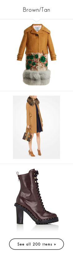 """""""Brown/Tan"""" by miss-amazing-grace ❤ liked on Polyvore featuring outerwear, coats, prada, camel, camel cashmere coat, cashmere coats, wool cashmere coat, floral print coats, brown and evening coat"""