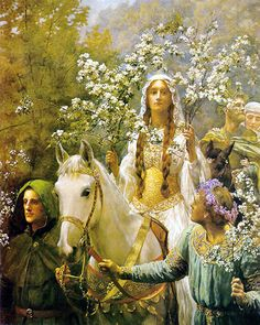 Queen Guinevere's Maying, by John Collier For thus it chanced one morn when all the court, Green-suited, but with plumes that mocked the may, Had been, their wont, a-maying and returned, That Modred still in green, all ear and eye, Climbed to the high top of the garden-wall To spy some secret scandal if he might