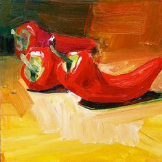 """Gretchen Hancock's Paintings: """"Three Small Red Peppers"""" SOLD"""