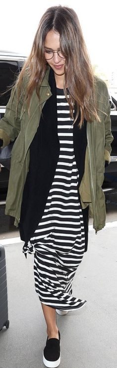Who made Jessica Alba's green jacket, white stripe maxi dress, and platform black sneakers?
