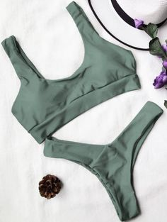 SHARE & Get it FREE | U Neck Bralette Thong Bikini Set - Army GreenFor Fashion Lovers only:80,000+ Items • New Arrivals Daily Join Zaful: Get YOUR $50 NOW!