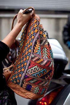 Glastonbury Festival Fashion Inspiration. hippie, bohemian, boho, navajo, aztek, woven, moroccan, Rucksack, marrakach, brown leather