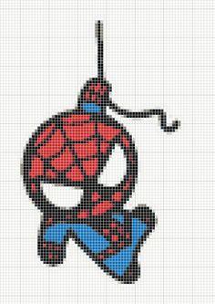 cross stitch pattern I found on deviant art (lost link).....adorable chibi spiderman