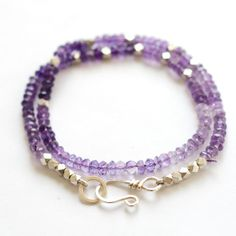 Amethyst gemstone wrap around bead bracelet | BijouxBar by Vivien Frank