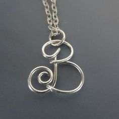 Letter B Wire Initial Necklace Argentium by SilverLightsJewelry