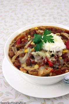 Slow Cooker Shredded Chicken Chili