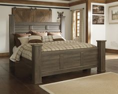 Juararo Collection Rustic Look Aged Brown Sawn Finish King Size Poster Bed - Main Image