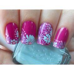 Nail art con fiorellini su sfondo bianco ❤ liked on Polyvore featuring beauty products, nail care, nail treatments, nails, nail polish, esmalte and makeup
