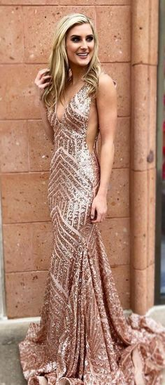 rose gold sequins prom dress,sexy v neck prom