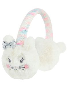 Girls Angels by Accessorize White Fluffy Bunny Space Dye Earmuffs - White Star Jewelry, Jewelry Shop, Accessorize Bags, Back To School Bags, Fluffy Bunny, Gold Statement Earrings, Anklet Jewelry, Flip Flop Shoes, Plushies