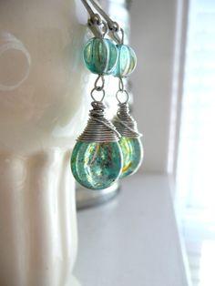 Wire Wrapped Shimmering Blue Green Glass Teardrop Earrings by DetroitJewel, $28.00 #summer #beach #jewelery