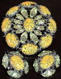SCHREINER Stunning Yellow Inverted Rhinestone Mottled Glass Cab Pin Earring Set | eBay