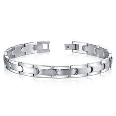 Men's Titanium Smooth Flat Link Bracelet