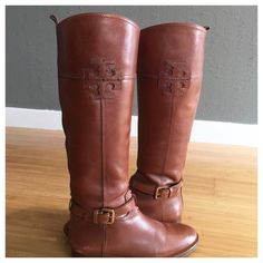 Tory Burch (Size 8) Riding Boots - Just Too Tall! Beautiful, stunning size 8 Tory Burch Riding Boots! In STELLAR CONDITION! I am only 5' tall and they rub too far up the back of short my legs. These boots are  part of the Tory Burch collection from 4-5 years ago. They were purchased on Posh from a seller who wore them twice. I wore them for a few hours inside my home. There are a couple of minor blemishes but overall they are in nearly brand new condition. There is not an original box. The…