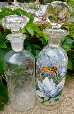 Two Large Vintage Cologne Perfume Bottles Painted Glass Vanity Pieces Decor With…