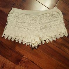 CROCHETED WHITE SHORTS  Shorts