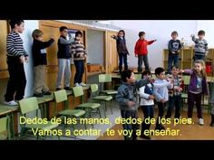 Dedos de las manos, dedos de los pies, Tenemos cinco en cada uno; De las manos, dedos de los pies, Vamos a contar, te voy a enseñar. Uno, dos, tres, cuatro, cinco La mano izquierda. Uno, dos, tres, cuatro, cinco Mano derecha. Uno, dos, tres, cuatro, cinco El pie izquierdo, ¡Uno, dos, tres, cuatro, cinco! Dedos de las manos, dedos de los pies, Tenemos cinco en cada uno; De las manos, dedos de los pies, Vamos a contar, te voy a enseñar.