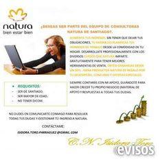 Consultor (a) Natura Te invito a formar parte del .. http://santiago-city.evisos.cl/consultor-a-natura-id-614005