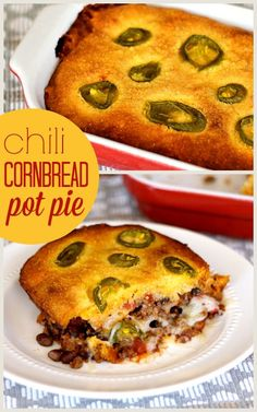Chili Cornbread Pot Pie - Dig into this warm, hearty, and easy casserole for din. Chili Cornbread Pot Pie - Dig into this warm, hearty, and easy casserole for dinner tonight! I Love Food, Good Food, Yummy Food, Beef Dishes, Food Dishes, Potluck Dishes, Chili And Cornbread, Cornbread Mix, Great Recipes