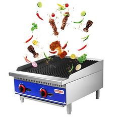 """Grill and 24"""" Natural Gas Countertop Charbroiler - KITMA Commercial Radiant Charbroiler Gas Barbecue Grill - Stainless Steel Gas grill - Restaurant BBQ Equipment, 70000 BTU Western Restaurant, Grill Restaurant, Gas Barbecue Grill, Grilling, Bbq Equipment, Stainless Steel Welding, Cast Iron Grill, Tidy Kitchen, Thing 1"""