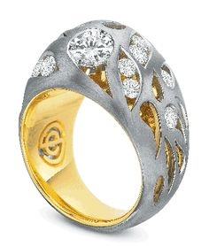 Semi-mount in palladium and 18k yellow gold with 1.35 cts. t.w. diamonds; $5,500