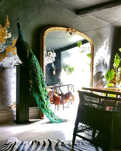 dark dining room with large french mirror and life-size stuffed peacock